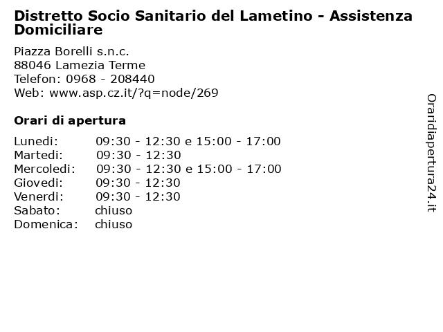 Distretto Socio Sanitario del Lametino - Assistenza Domiciliare a Lamezia Terme: indirizzo e orari di apertura