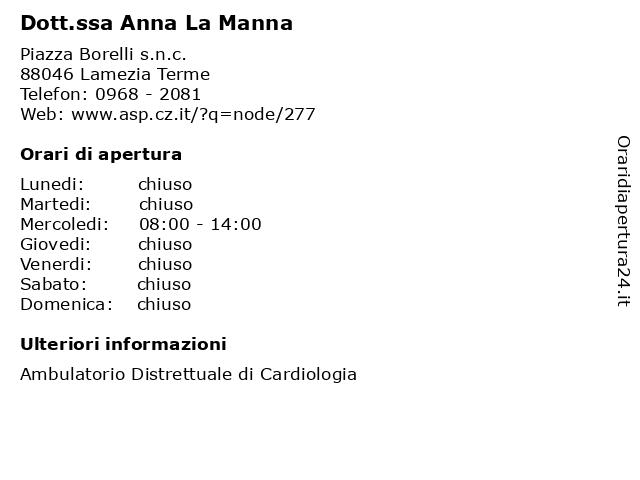 Dott.ssa Anna La Manna a Lamezia Terme: indirizzo e orari di apertura