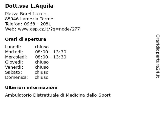 Dott.ssa L.Aquila a Lamezia Terme: indirizzo e orari di apertura