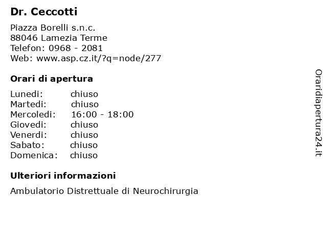 Dr. Ceccotti a Lamezia Terme: indirizzo e orari di apertura