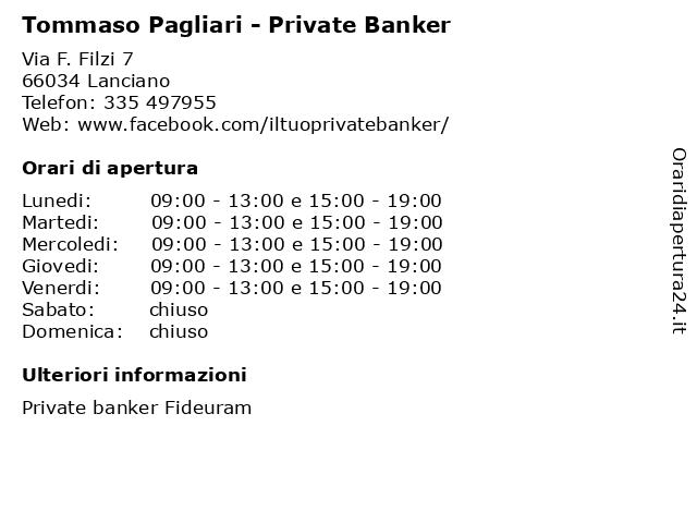 Tommaso Pagliari - Private Banker a Lanciano: indirizzo e orari di apertura