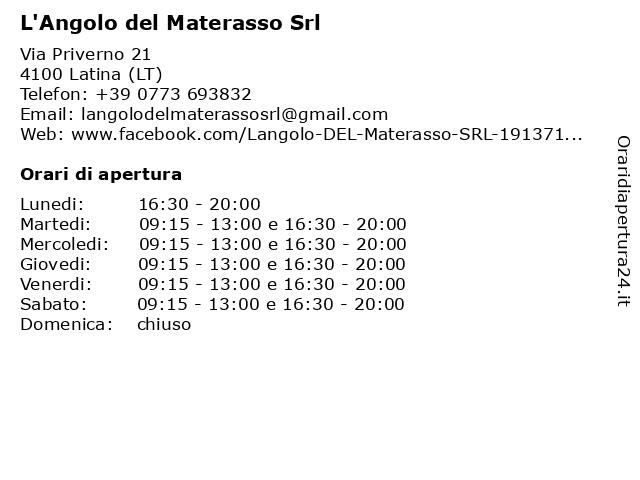 L Angolo Del Materasso.ᐅ Orari L Angolo Del Materasso Srl Via Priverno 21 04100