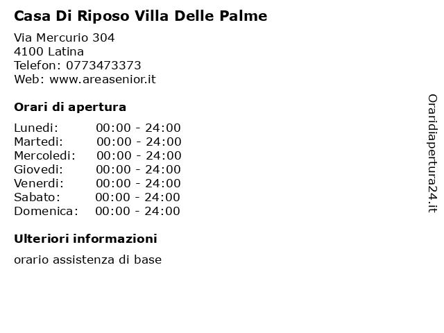 Casa Di Riposo Villa Delle Palme a Latina: indirizzo e orari di apertura