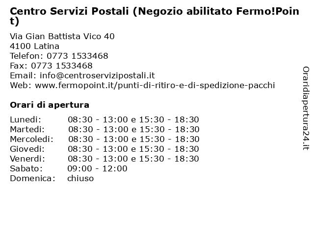Centro Servizi Postali (Negozio abilitato Fermo!Point) a Latina: indirizzo e orari di apertura