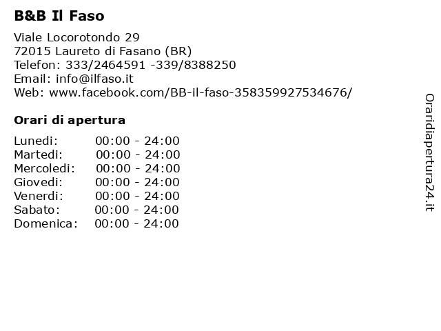 B&B Il Faso a Laureto di Fasano (BR): indirizzo e orari di apertura