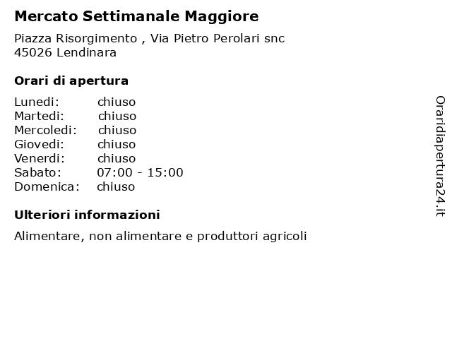 Mercato Settimanale Maggiore a Lendinara: indirizzo e orari di apertura