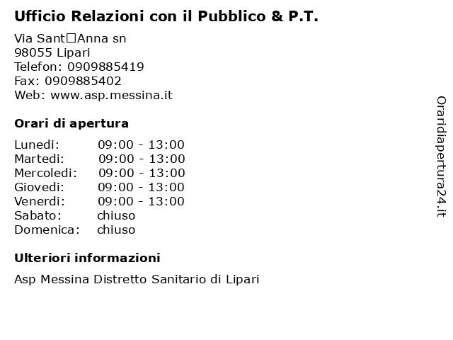 Ufficio Relazioni con il Pubblico & P.T. a Lipari: indirizzo e orari di apertura