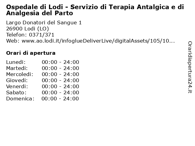 Ospedale di Lodi - Servizio di Terapia Antalgica e di Analgesia del Parto a Lodi (LO): indirizzo e orari di apertura