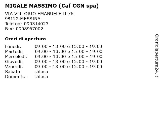 MIGALE MASSIMO (Caf CGN spa) a MESSINA: indirizzo e orari di apertura