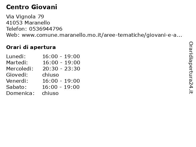 Centro Giovani a Maranello: indirizzo e orari di apertura