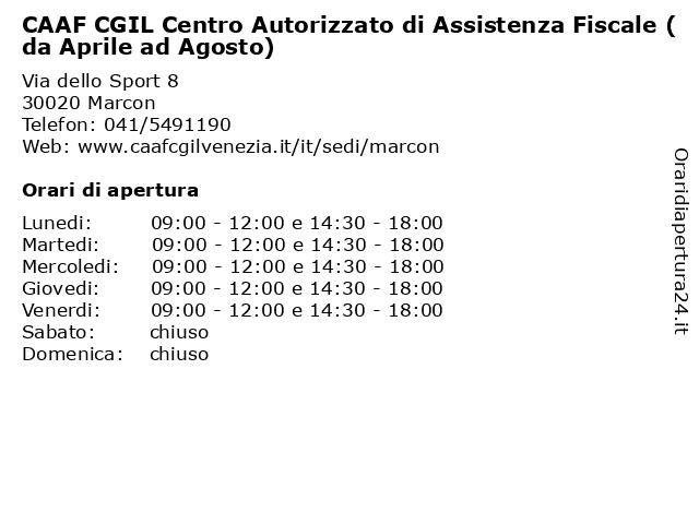 CAAF CGIL Centro Autorizzato di Assistenza Fiscale (da Aprile ad Agosto) a Marcon: indirizzo e orari di apertura