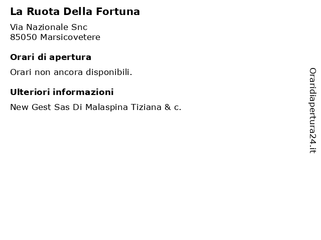 La Ruota Della Fortuna a Marsicovetere: indirizzo e orari di apertura