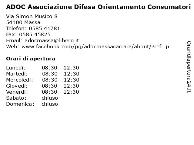 ADOC Associazione Difesa Orientamento Consumatori a Massa: indirizzo e orari di apertura