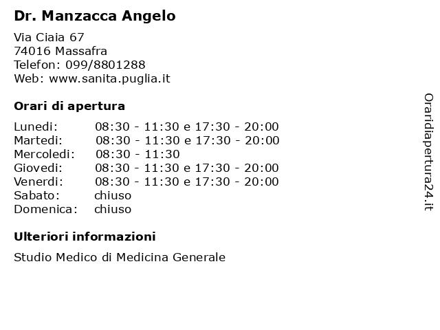 Dr. Manzacca Angelo a Massafra: indirizzo e orari di apertura