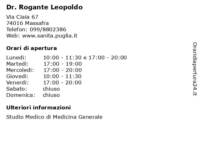 Dr. Rogante Leopoldo a Massafra: indirizzo e orari di apertura