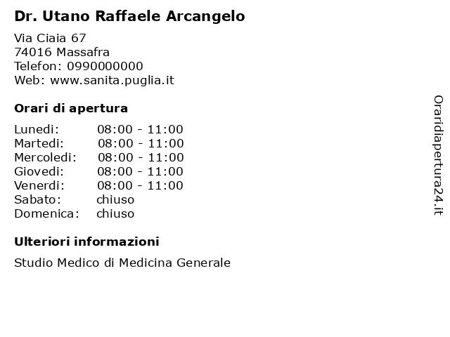 Dr. Utano Raffaele Arcangelo a Massafra: indirizzo e orari di apertura