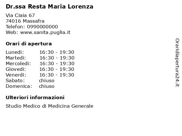 Dr.ssa Resta Maria Lorenza a Massafra: indirizzo e orari di apertura