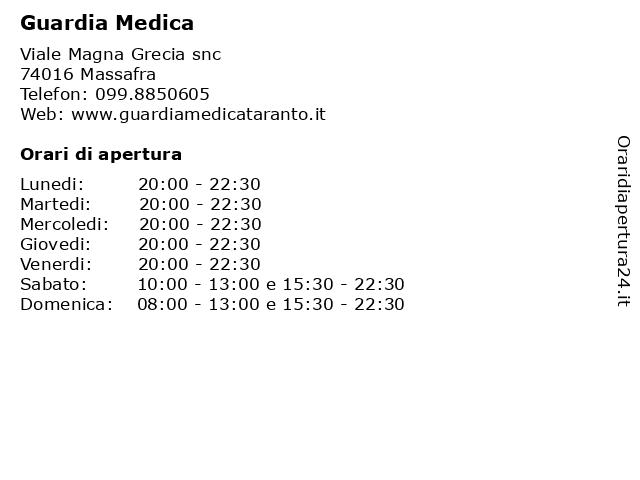 Guardia Medica a Massafra: indirizzo e orari di apertura