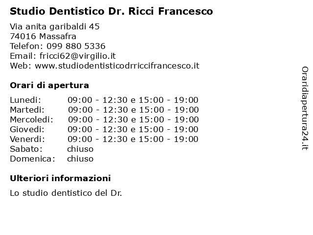 Studio Dentistico Dr. Ricci Francesco a Massafra: indirizzo e orari di apertura