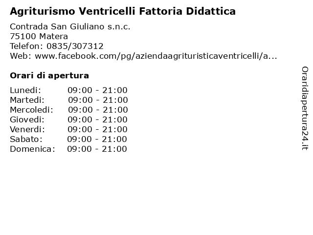 Agriturismo Ventricelli Fattoria Didattica a Matera: indirizzo e orari di apertura