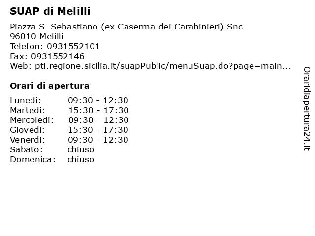 SUAP di Melilli a Melilli: indirizzo e orari di apertura