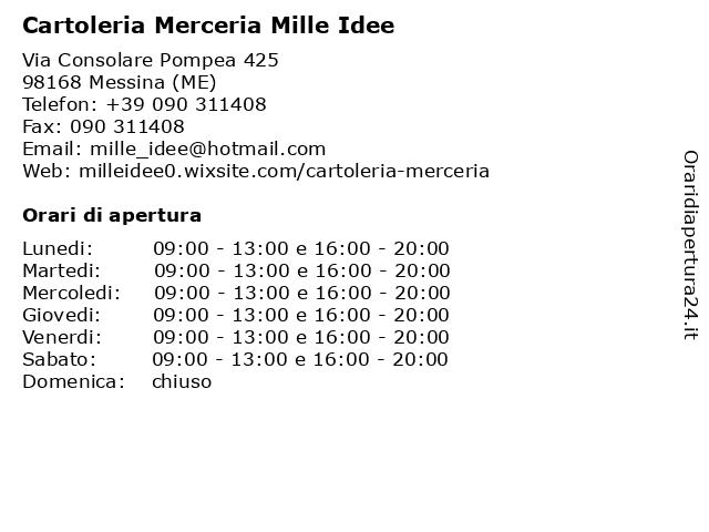 Cartoleria Merceria Mille Idee a Messina (ME): indirizzo e orari di apertura