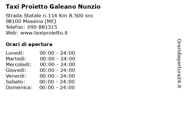 Taxi Proietto Galeano Nunzio a Messina (ME): indirizzo e orari di apertura