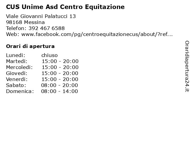CUS Unime Asd Centro Equitazione a Messina: indirizzo e orari di apertura