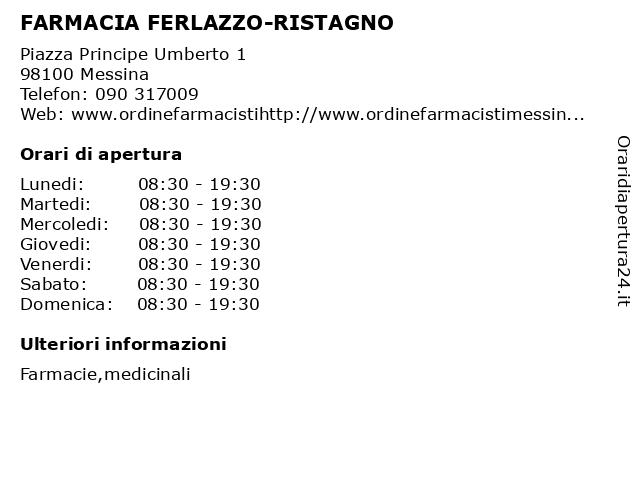 FARMACIA FERLAZZO-RISTAGNO a Messina: indirizzo e orari di apertura