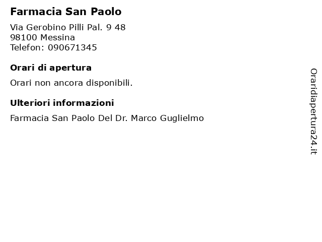 Farmacia San Paolo a Messina: indirizzo e orari di apertura