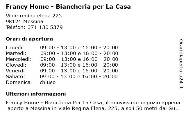 Francy Home - Biancheria per La Casa a Messina: indirizzo e orari di apertura