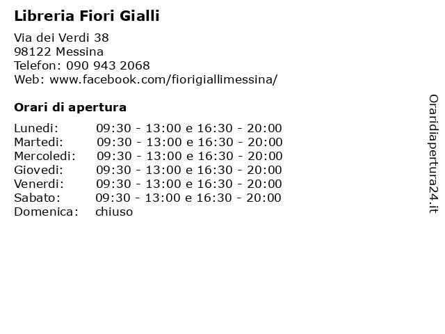 Fiori Gialli Libreria Messina.ᐅ Orari Libreria Fiori Gialli Ecospiritualshop Via Dei Verdi 38