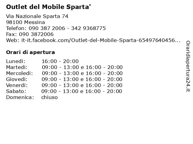 Outlet del Mobile Sparta' a Messina: indirizzo e orari di apertura