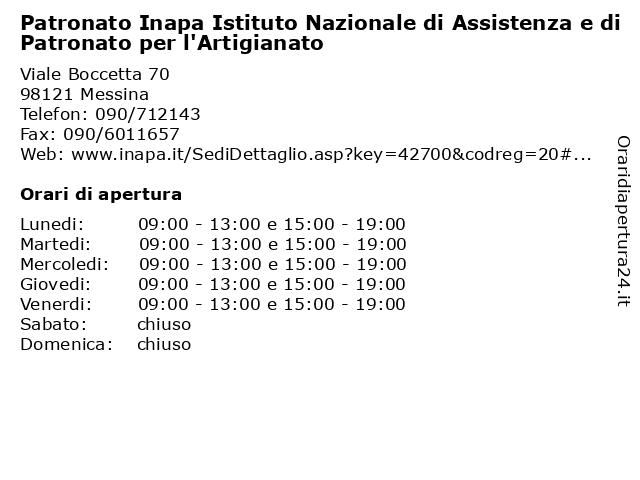 Patronato Inapa Istituto Nazionale di Assistenza e di Patronato per l'Artigianato a Messina: indirizzo e orari di apertura