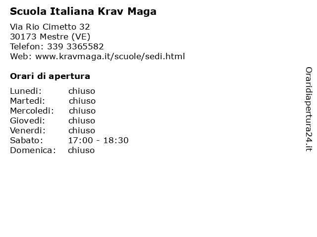Scuola Italiana Krav Maga a Mestre (VE): indirizzo e orari di apertura