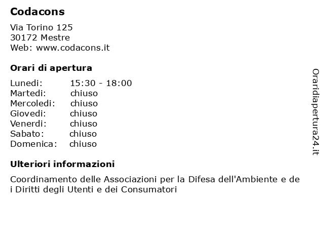 Á… Orari Codacons Via Torino 125 30172 Mestre