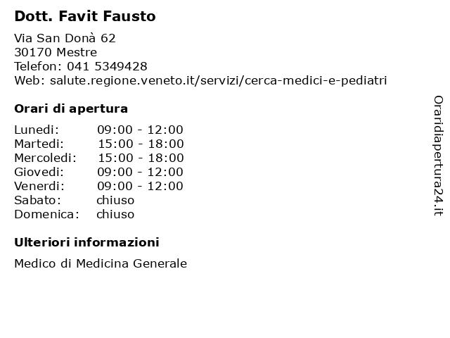 Dott. Favit Fausto a Venezia: indirizzo e orari di apertura