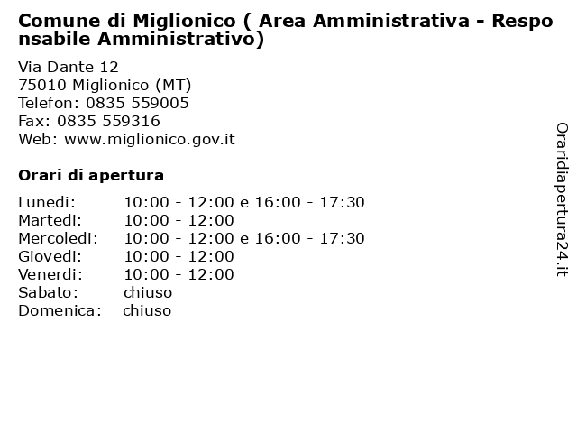 Comune di Miglionico ( Area Amministrativa - Responsabile Amministrativo) a Miglionico (MT): indirizzo e orari di apertura