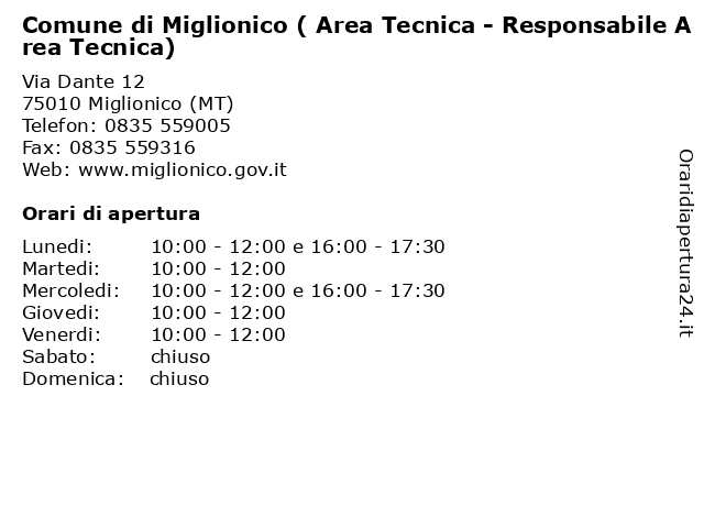 Comune di Miglionico ( Area Tecnica - Responsabile Area Tecnica) a Miglionico (MT): indirizzo e orari di apertura