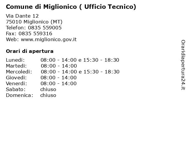 Comune di Miglionico ( Ufficio Tecnico) a Miglionico (MT): indirizzo e orari di apertura