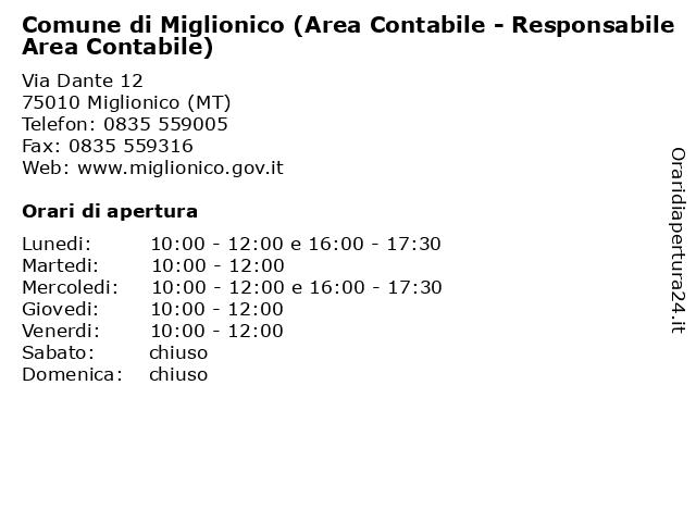 Comune di Miglionico (Area Contabile - Responsabile Area Contabile) a Miglionico (MT): indirizzo e orari di apertura