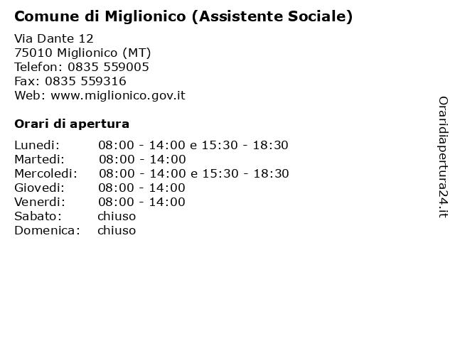 Comune di Miglionico (Assistente Sociale) a Miglionico (MT): indirizzo e orari di apertura
