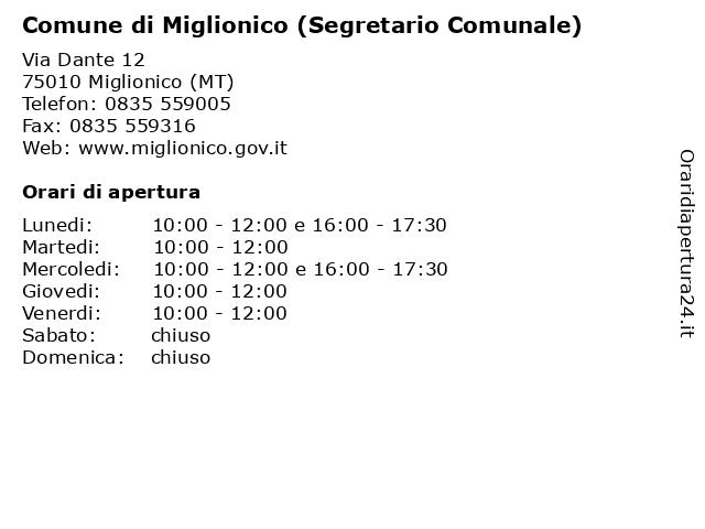 Comune di Miglionico (Segretario Comunale) a Miglionico (MT): indirizzo e orari di apertura