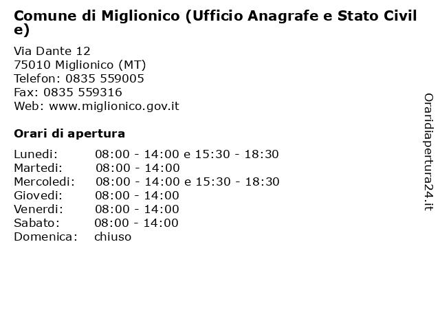 Comune di Miglionico (Ufficio Anagrafe e Stato Civile) a Miglionico (MT): indirizzo e orari di apertura
