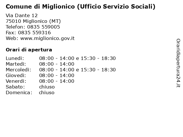 Comune di Miglionico (Ufficio Servizio Sociali) a Miglionico (MT): indirizzo e orari di apertura