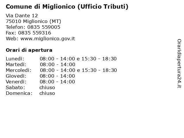 Comune di Miglionico (Ufficio Tributi) a Miglionico (MT): indirizzo e orari di apertura