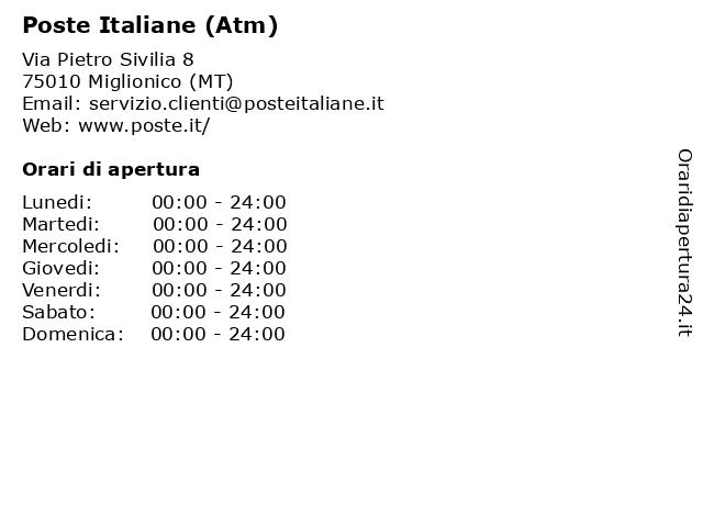 Poste Italiane (Atm) a Miglionico (MT): indirizzo e orari di apertura