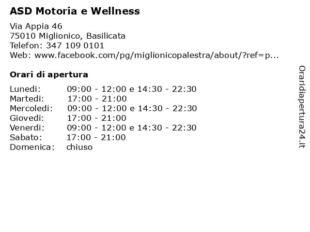 ASD Motoria e Wellness a Miglionico, Basilicata: indirizzo e orari di apertura