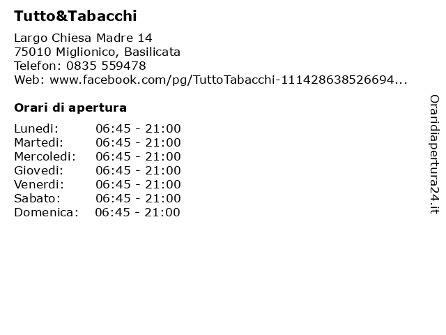 Tutto&Tabacchi a Miglionico, Basilicata: indirizzo e orari di apertura