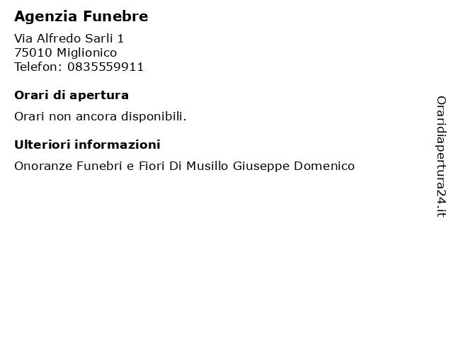 Agenzia Funebre a Miglionico: indirizzo e orari di apertura